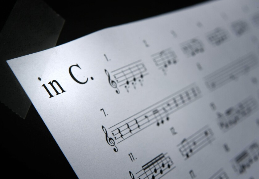 """Sheet music for """"In C,"""" the Terry Riley composition credited with pioneering the Minimalist movement."""