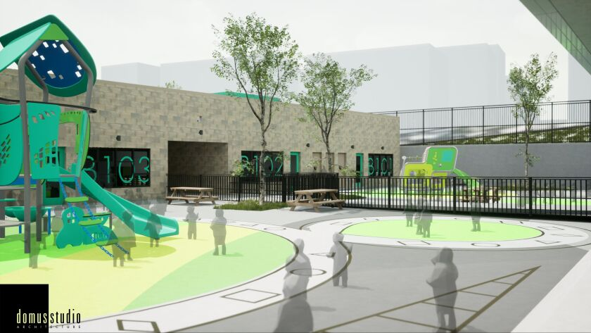 Rendering of a playground at an elementary school in Mission Valley.