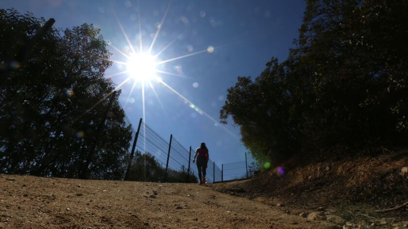 LA CANADA FLINTRIDGE FEBRUARY 28, 2018: A hiker makes her way up the Descanso Trail on February 28,
