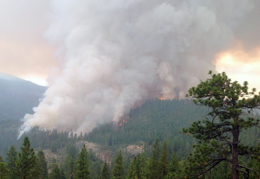 This July 28 photo by the U.S. Forest Service shows flames and smoke in the Sierra National Forest.