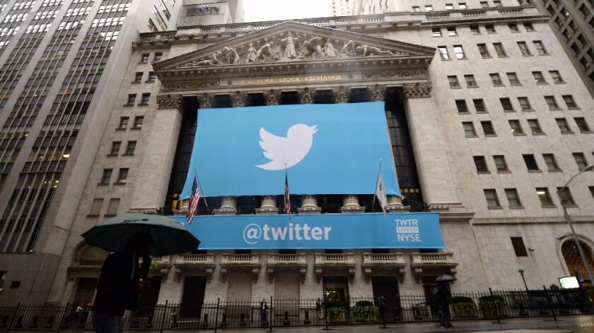 Twitter's banner hangs at the New York Stock Exchange in November 2013.