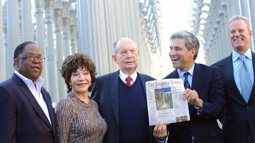 Mark Ridley-Thomas, left, Lynda Resnick, Jerry Perenchio, Michael Govan and Andrew Gordon after a 20