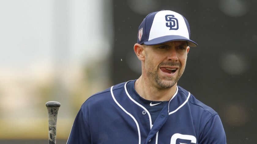 PEORIA, February 14, 2019 | Padres' catcher Chris Stewart while taking batting practice on the firs
