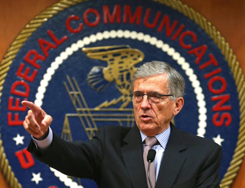 Federal Communications Commission Chairman Tom Wheeler delivers remarks at the start of a forum in Washington on Sept. 16, 2014.