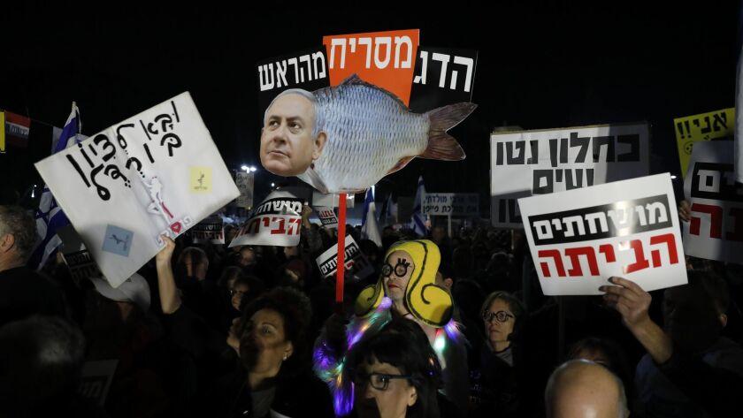 Protest against government corruption in Tel Aviv, Israel - 13 Jan 2018