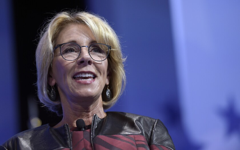 Education Secretary Betsy DeVos speaks at the Conservative Political Action Conference (CPAC) in Oxon Hill, Md., Thursday, Feb. 23, 2017.