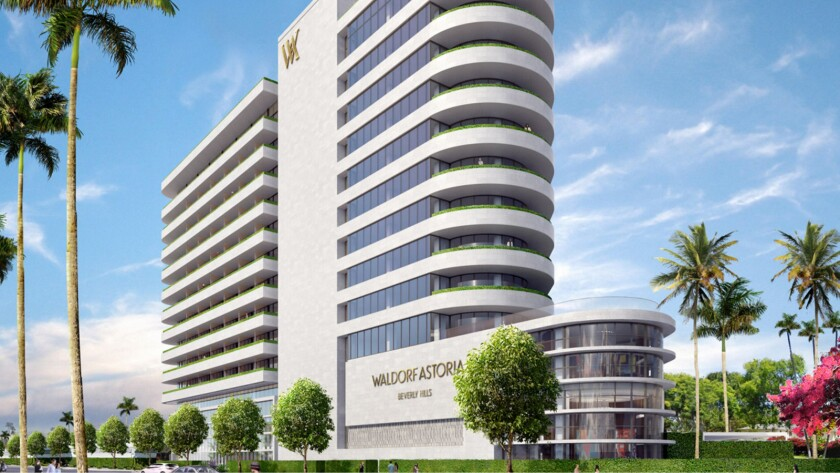 Just the beginning? An artist's rendering of the Waldorf Astoria Hotel, scheduled to open next spring as the first phase of redevelopment of the site of the Beverly Hilton Hotel.