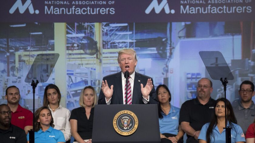 US President Donald J. Trump delivers remarks on tax reform to the National Association of Manufacturers, Washington, USA - 29 Sep 2017