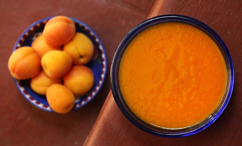 Apricot purée made by Martha Rose Shulman with a food mill.