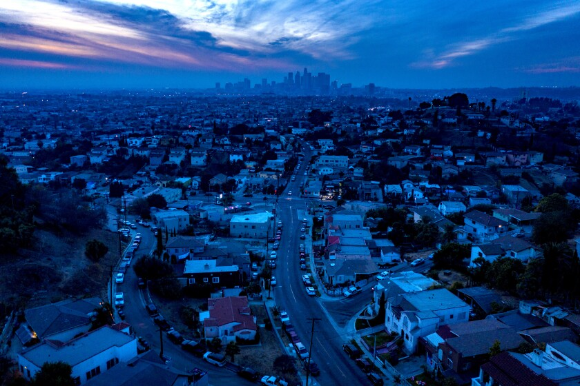 Drone view toward downtown Los Angeles from East LA
