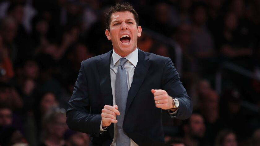 Lakers coach Luke Walton reacts to an official's call in the fourth quarter against the Memphis Grizzlies on Nov. 5.