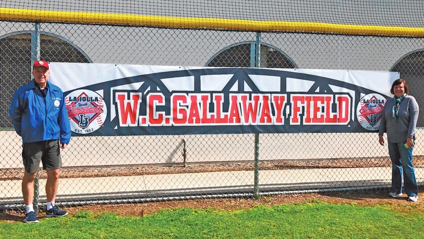Lisa and Brian Gallaway, the children of Creighton Gallaway, attend opening day for La Jolla Youth Baseball and the ceremony to name Bronco field after their father.