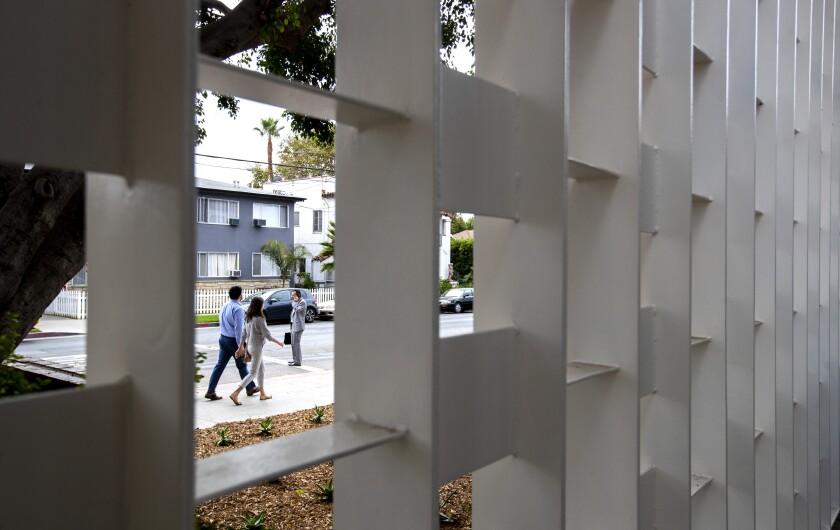 Gardner Library Women's Bridge Shelter's metal screen outside