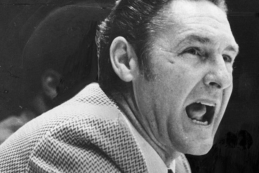 Bill Sharman yells from the bench in his first season as Lakers coach in 1971.