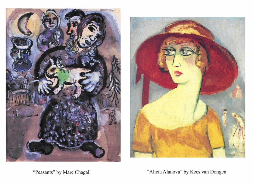 Paintings by Marc Chagall, left, and Kees van Dongen were among 12 works stolen from an elderly couple's Encino home in 2008.