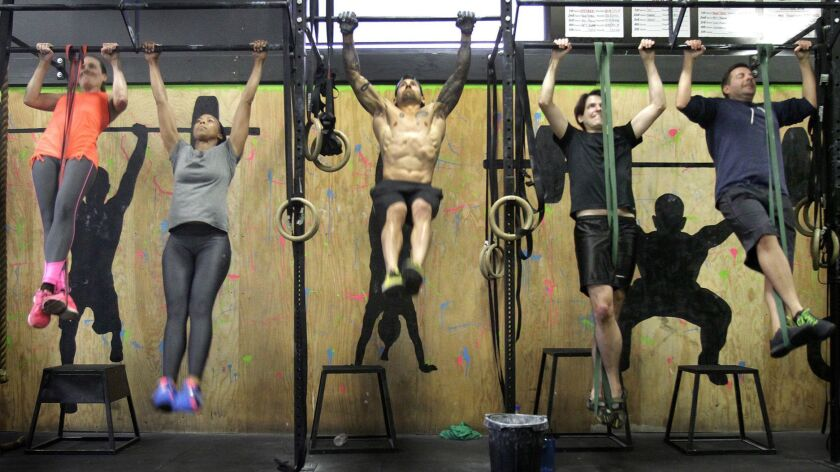 LOS ANGELES, CA. MAY 07, 2014. Cross-Fit class at Cave Cross Fit in Los Angeles on May 7, 2014. Stor