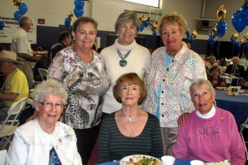 Barbara Meech, Carolyn, Chiriboga, Beverly Gorman. Back, Heidi Gorman, Judy Harri and Carol Jungerheld at the Oceanside-Carlsbad Soroptimist Salad Lunch on March 20 in Oceanside. CREDIT: Penny Bonnot