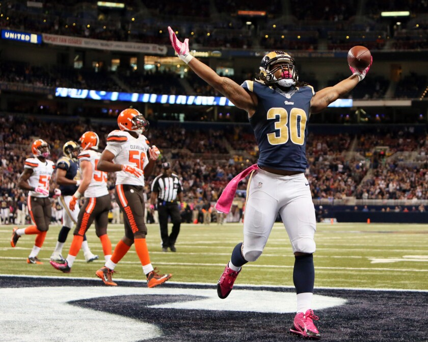 """Rams running back Todd Gurley, last season's offensive rookie of the year, is the kind of talent to which the Rams want to draw attention on """"Hard Knocks."""""""