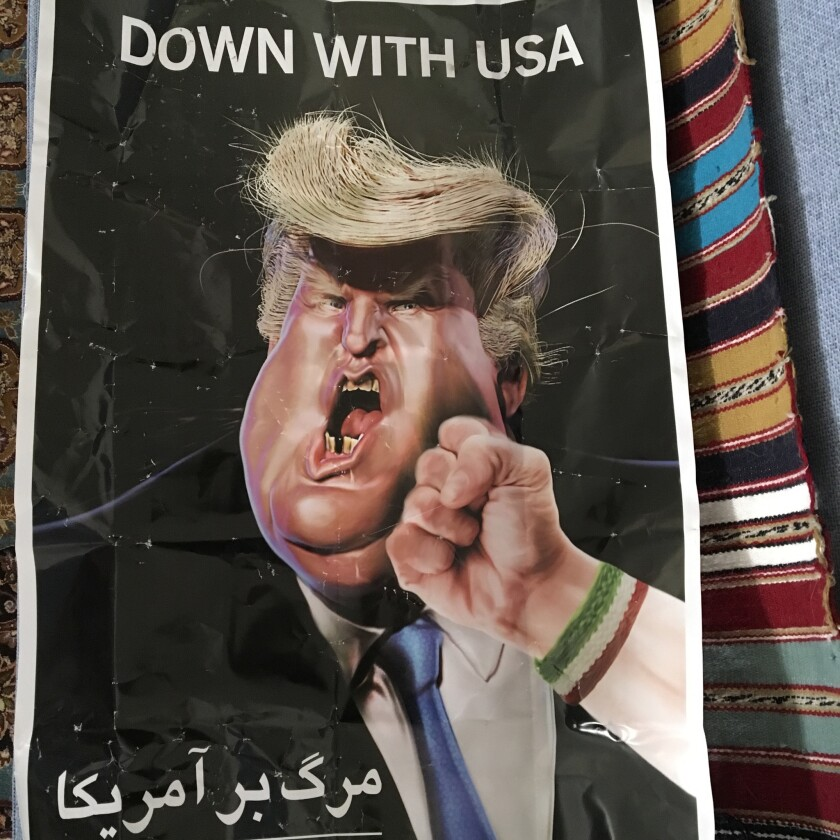A poster displayed at rallies marking the anniversary of Iran's 1979 revolution.