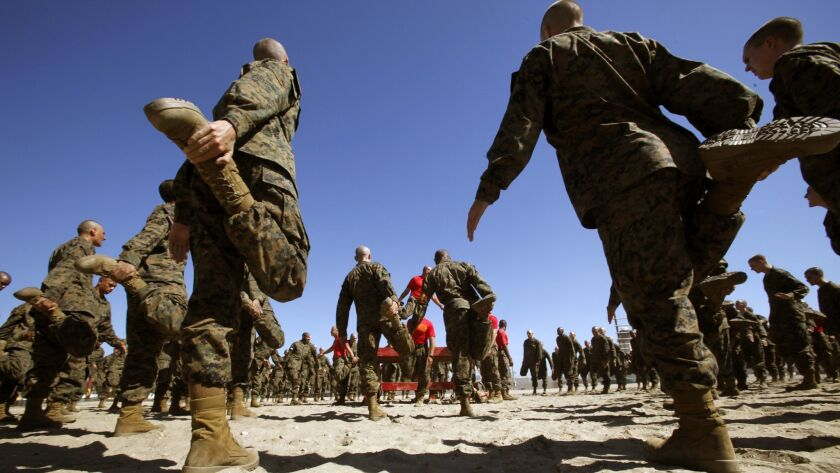 Marine Corps recruits exercise on the training grounds of the Marine Corps Recruit Depot in San Diego in 2011.