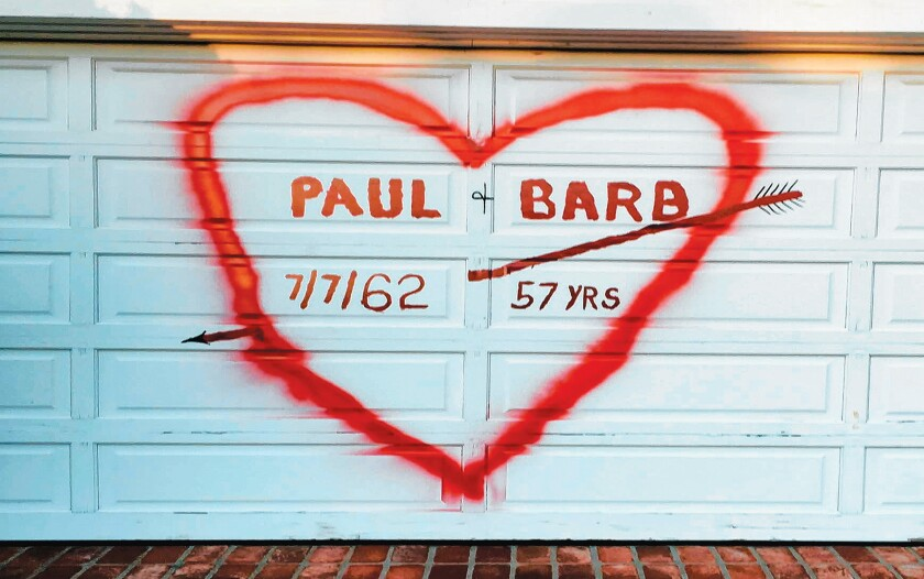 PAUL LOVES BARB: I'm not sure if this is of interest to La Jolla Light or not, but I thought it was too fun not to share! My parents — Paul and Barbara Holz — were both born and raised in La Jolla and were La Jolla High School sweethearts and graduates. For Valentine's Day, my dad spray-painted a message to my mom! They already had plans to paint the garage door next week, so the holiday was perfect timing! When she saw it, my mom was shocked, laughed hysterically, and then I'm sure she cried a bit. Hope readers enjoy the picture! — Submitted by Jennifer Schulz