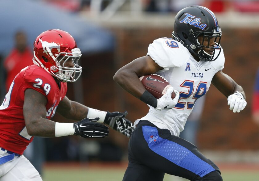 Tulsa wide receiver Justin Hobbs (29) runs after a catch in front of SMU defensive back Darrion Richardson (29) during the first half of an NCAA college football game, Saturday, Oct. 31, 2015, in Dallas. (AP Photo/Jim Cowsert)