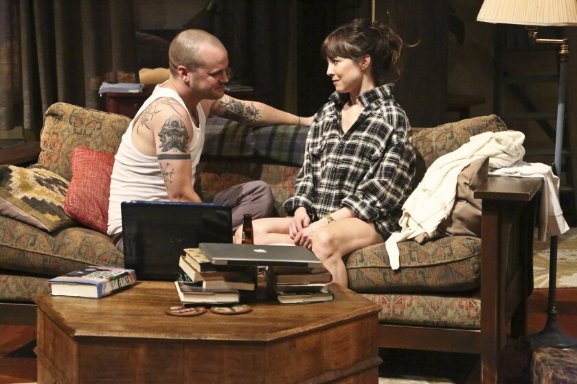"""Ethan (Stephen Louis Grush) and Olivia (Rebecca Pidgeon) collide in the Laura Eason play """"Sex With Strangers"""" at the Geffen Playhouse."""
