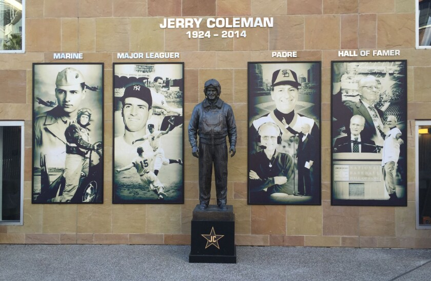 The statue of Jerry Coleman at Petco Park is flanked by photos that trace an amazing life, from Marine pilot who fought in two wars and Yankees second baseman to Padres broadcaster (and manager in 1980) and enshrinement at the National Baseball Hall of Fame.