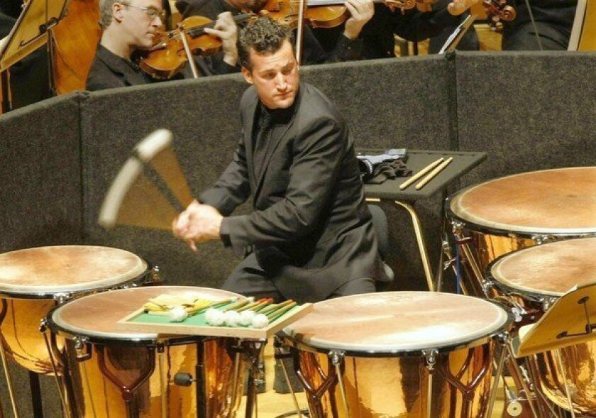 The Los Angeles Philharmonic's Joe Pereira plays the timpani at Walt Disney Concert Hall.