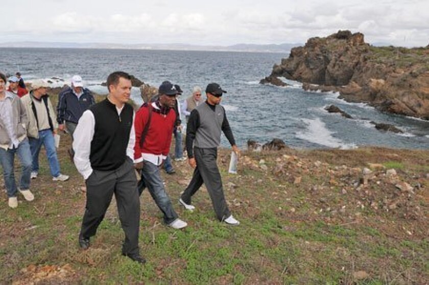 Tiger Woods (far right) led Champions Club members and potential home buyers on a tour of Punta Brava, just south of Ensenada. (Bob Riha Jr.)