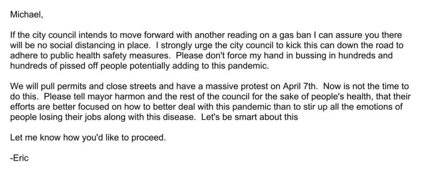 Eric Hofmann email screenshot
