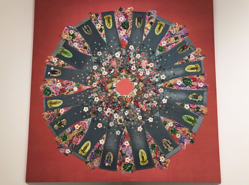 """Eduardo,"" 2018, a textile collage by Irma Sofía Poeter at CECUT in Tijuana"