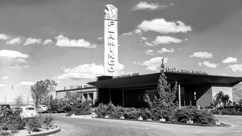Seen here in 1946, the year it opened, the Flamingo was one of the first hotel-casinos to open along the now world-famous Strip. Operated by mobster Bugsy Siegel, it launched the day after Christmas.