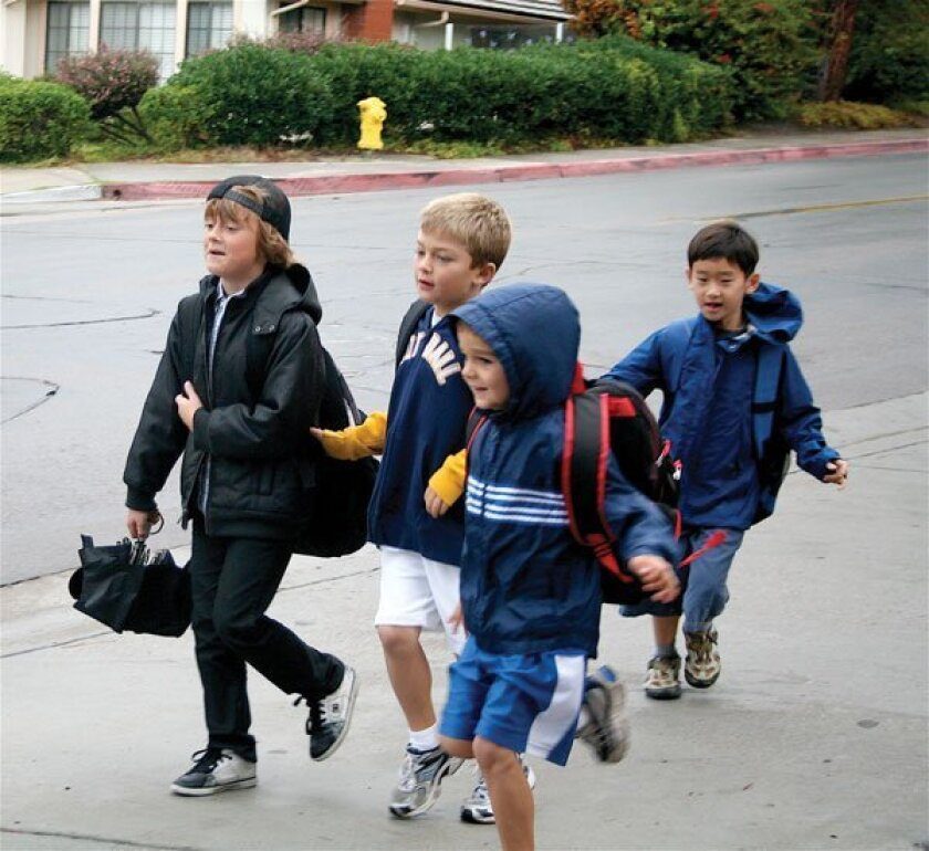 Carmel Del Mar boys excitedly headed into school.
