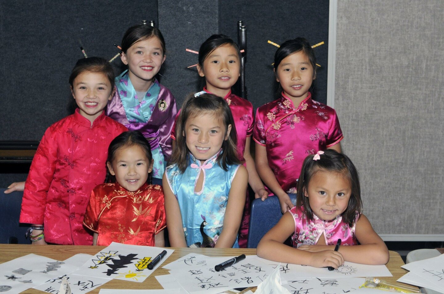 Students representing China are Kendall, Dillan, Joia, Issa, Abigail, Jade and Chyna