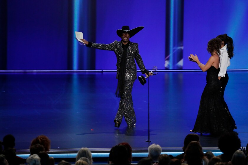 """Billy Porter from """"Pose"""" accepts the Emmy for lead actor in a drama series."""