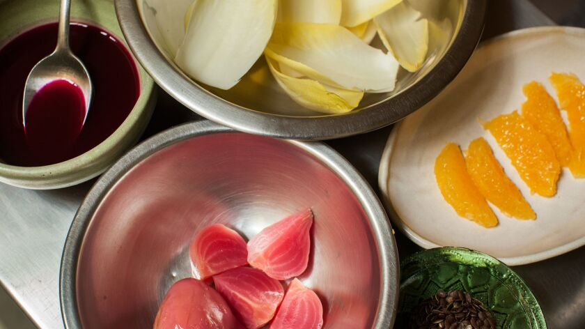 MEXICO CITY, MEXICO-- MARCH 28, 2019: Ingredients to make chef Reygadas' dish called Endives, beets,