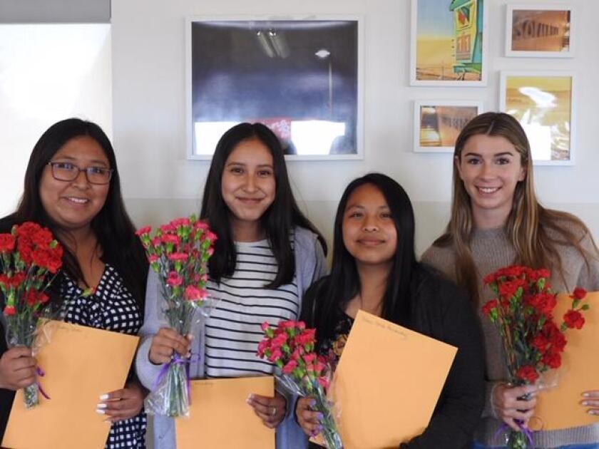 Solana Beach Civic and Historical Society scholarship winners (l-r): Gabby Conde, Wendy Mendoza, Diana Hernandez, Ella Chambers