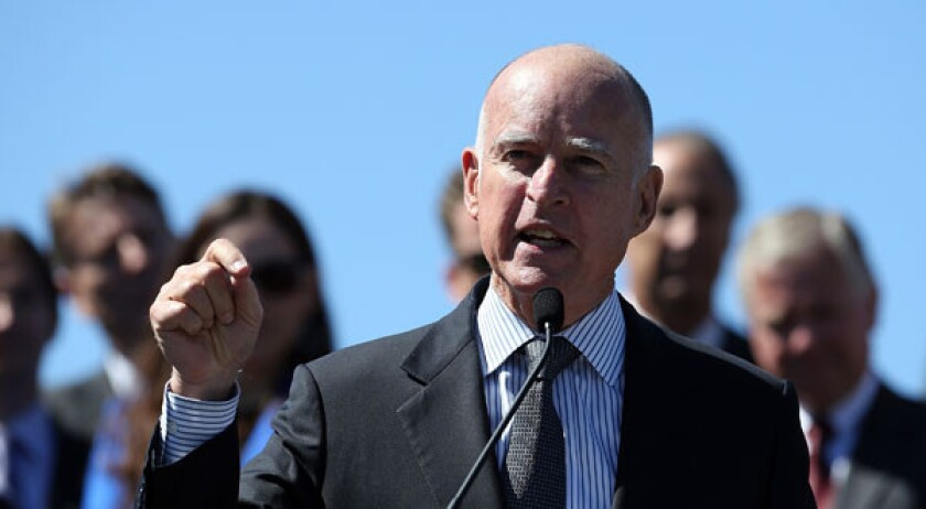 California Gov. Jerry Brown speaks during a press conference in San Francisco, California.