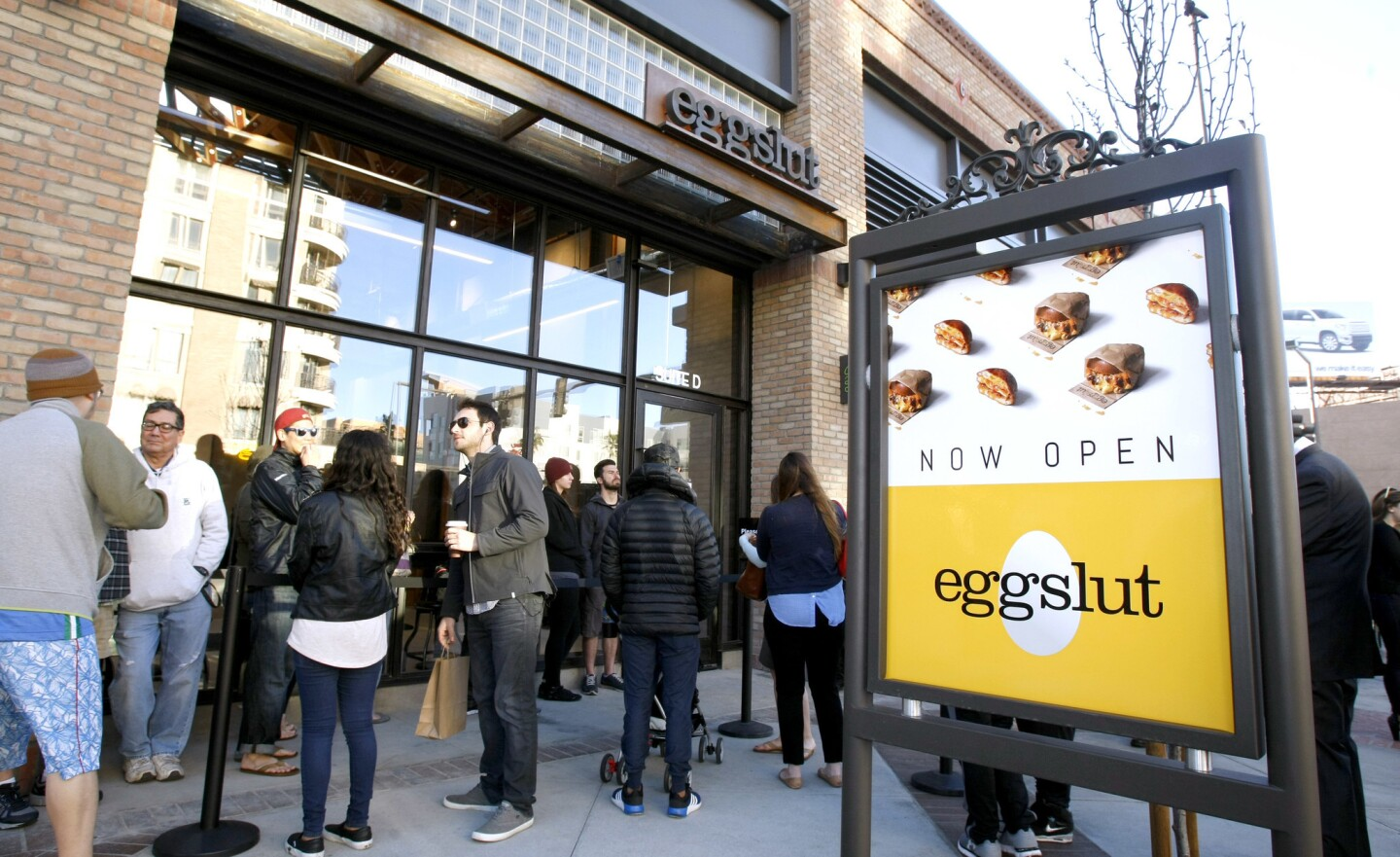 Customers line up to be among the first to eat at the new Eggslut eatery on Brand Blvd. in Glendale, on Thursday, March 23, 2017.