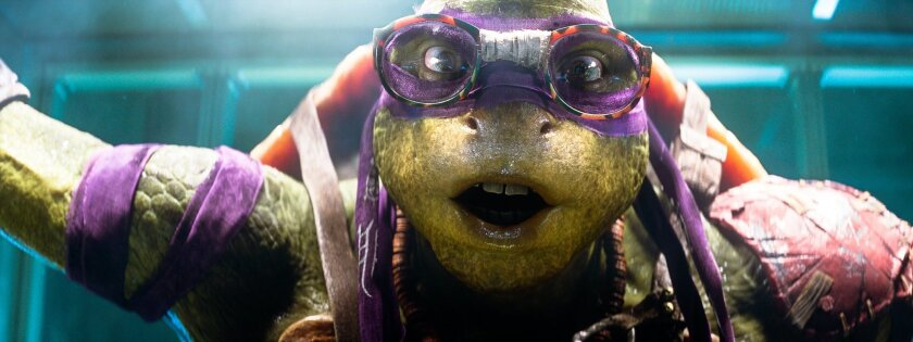 """FILE - This file image released by Paramount Pictures shows the character Donatello from the 2014 film, """"Teenage Mutant Ninja Turtles."""" Some of the most popular costumes are expected to be based on the reptilian superheroes after the 2014 release of the film """"Teenage Mutant Ninja Turtles,"""" according to Steven Silverstein, CEO of Spirit Halloween, a chain of more than 1,150 pop-up stores devoted to costumes and decor for the holiday. (Paramount Pictures, Industrial Light & Magic via AP, File)"""