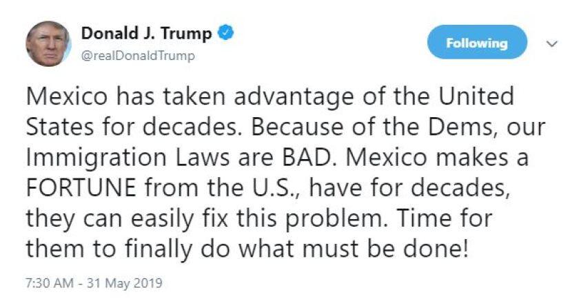 Trump tweet on tariffs on Mexico