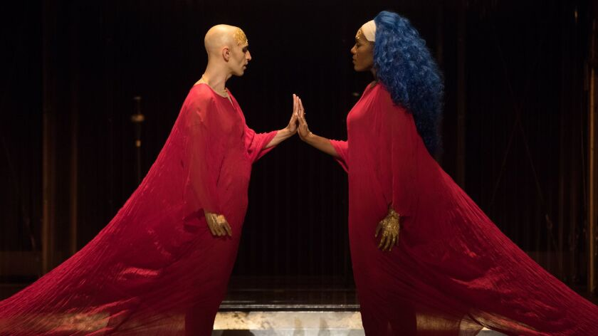 """Anthony Roth Costanzo as the pharaoh and J'Nai Bridges as the queen in """"Akhnaten."""""""