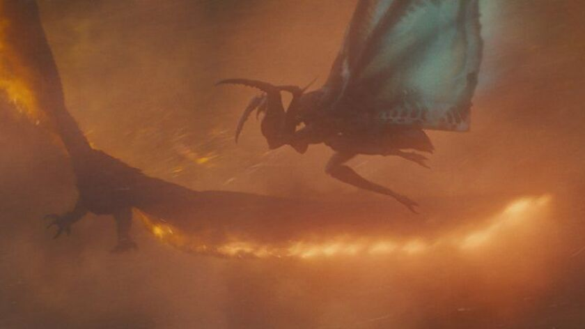 """Mothra, right, takes on Rodan in """"Godzilla: King of the Monsters."""""""