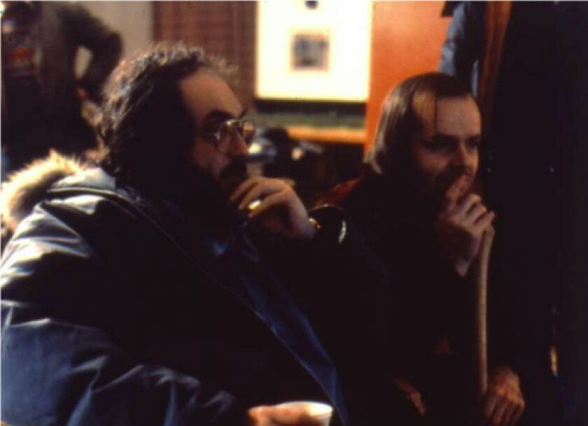 "Filmmaker Stanley Kubrick, left, and Jack Nicholson on the set of ""The Shining."""