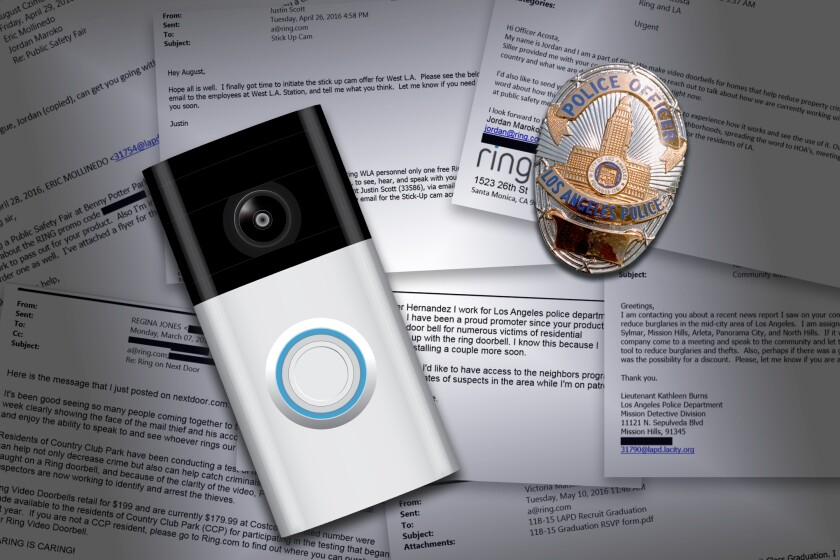 Photo illustration of a Ring doorbell camera and an LAPD badge on top of snippets of emails.