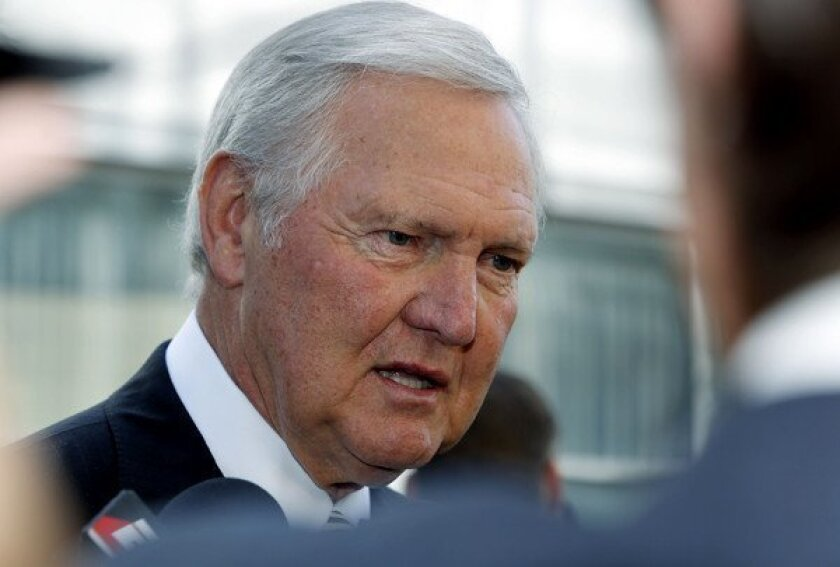 Lakers great Jerry West, arriving for the Jerry Buss memorial service two weeks ago, says the Lakers will make the playoffs this season.