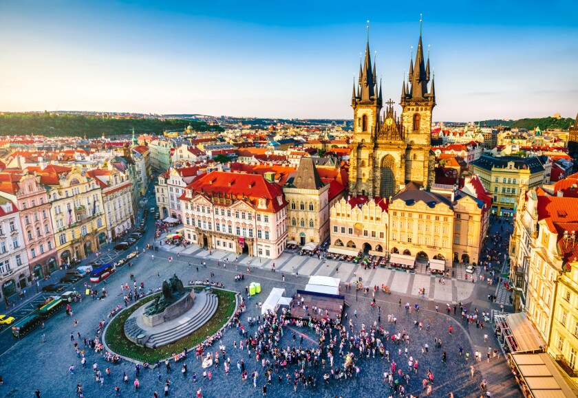 aerial view of old town square in Prague