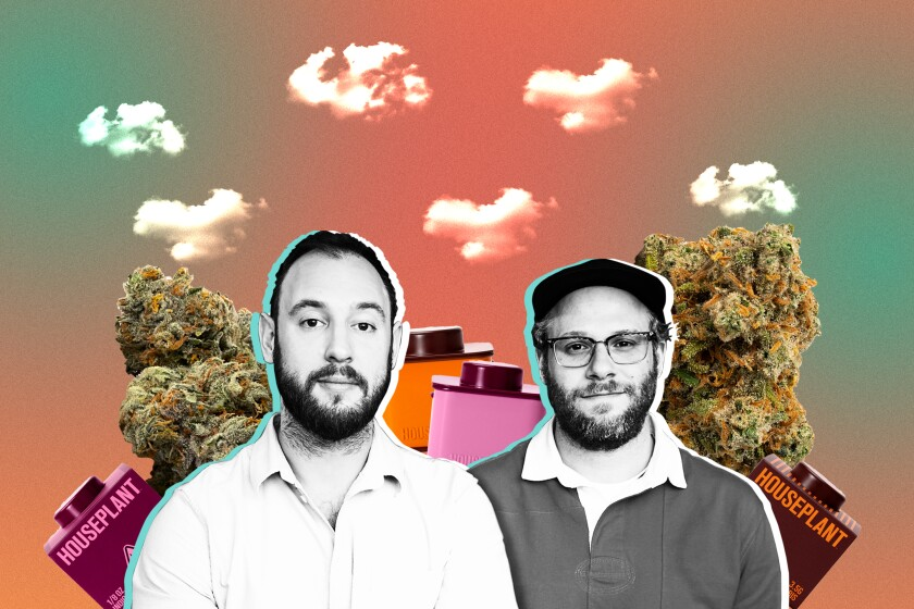 Seth Rogen and Evan Goldberg surrounded by cannabis buds and packaging