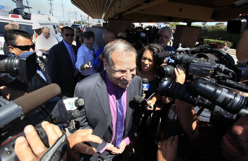 Mayor Bob Filner appeared at an event announcing the final phase of a $660 million Trolley Renewal project. He was hounded by the media at the event due to accusations of sexual harassment in his office.